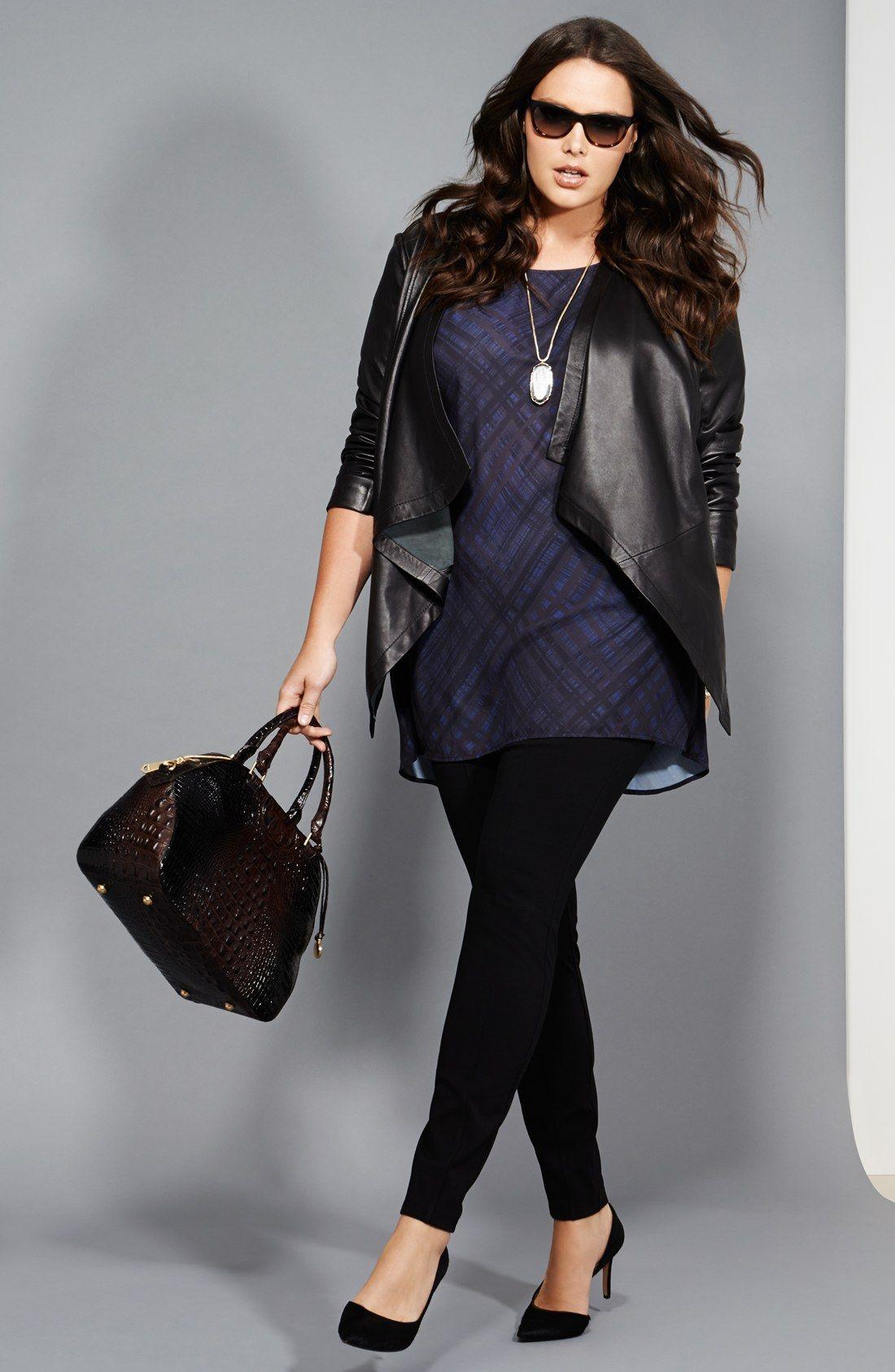 Sejour Leather Jacket, Crepe Tunic & Ponte Pants (Plus Size ...
