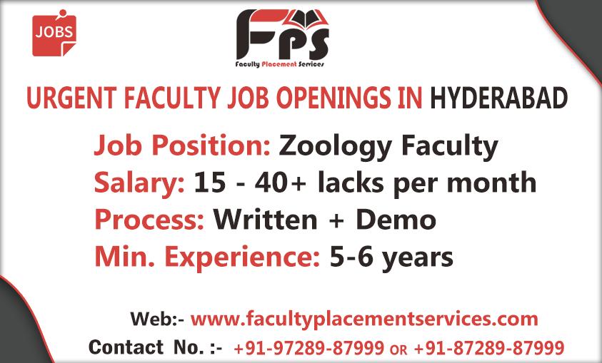 Urgent Faculty JobOpenings in Hyderabad Job Position