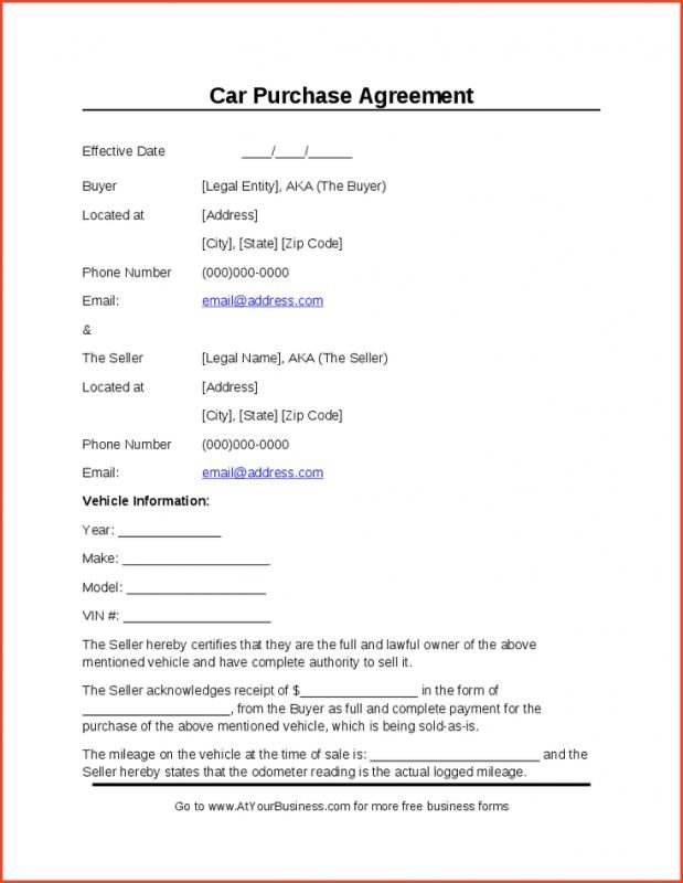 Used Car Automobile Used Car Free Bill Of Sale Template For Car