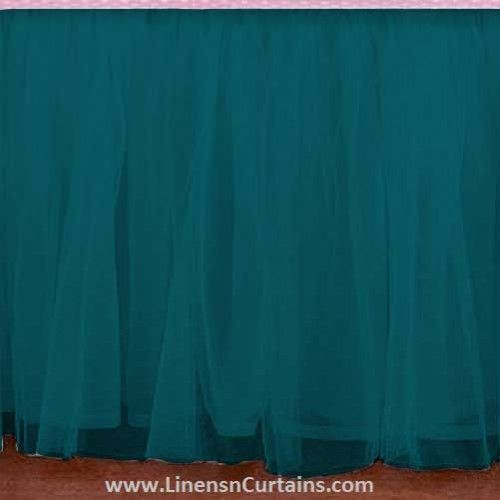 Any Size Teal Blue Tulle Bed Skirt Dust Ruffle Velcro Detachable Queen Full Twin Xl Cal King Daybed Extra Long Split Corner Ruffle Crib Skirt Bedskirt Blue Tulle