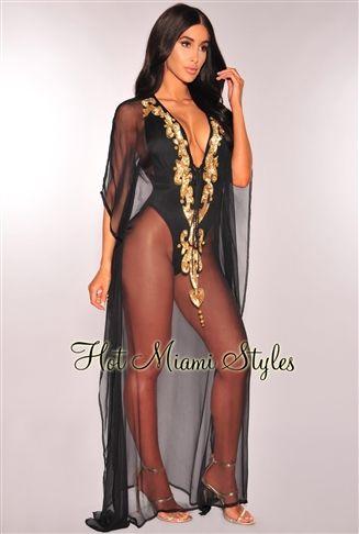e92c8fc99e114 Black Sheer Gold Sequins Cover Up Maxi Dress | Love Fashion ...