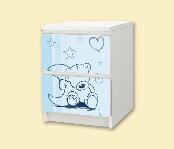 Kinderzimmer nachttisch ikea malm aufkleber teddy in for Kommode kinderzimmer ikea