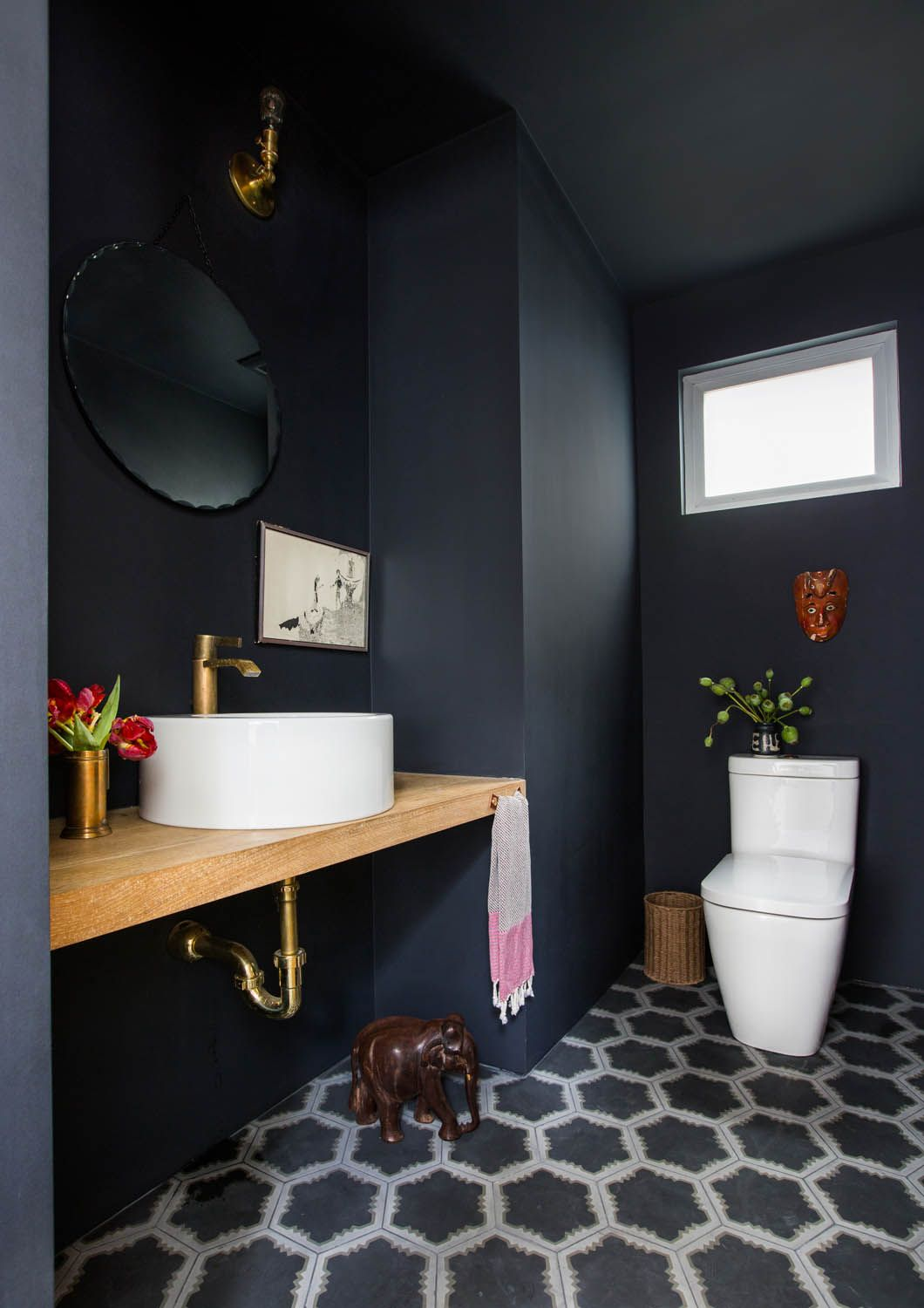 Pick A Bold And Moody Dark Paint With Portola Rue Small Toilet Room Painting Bathroom Dark Bathrooms