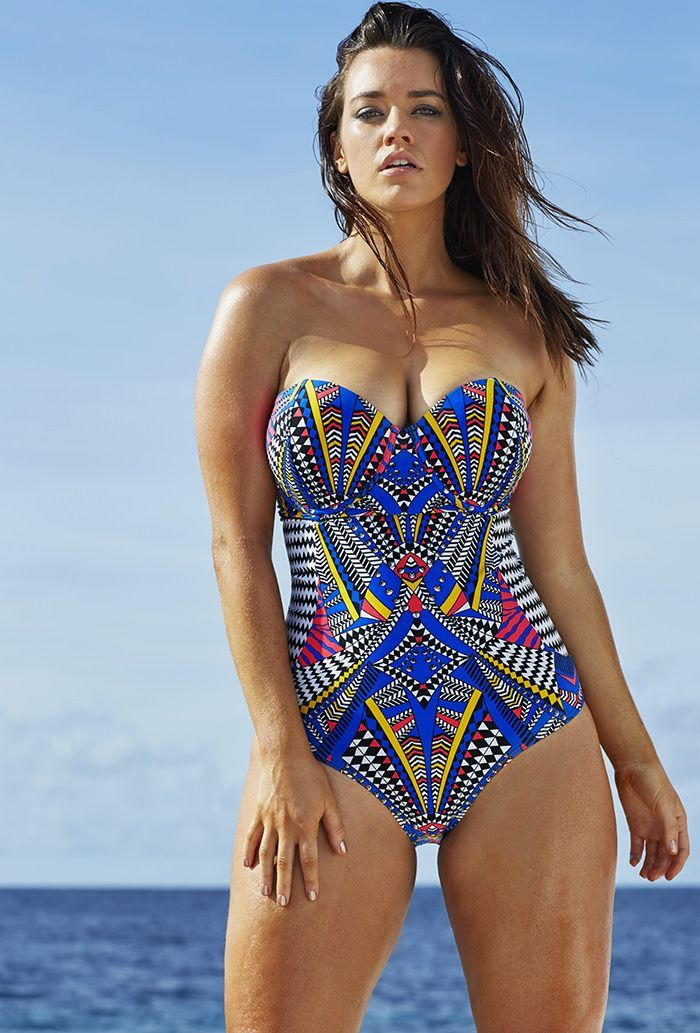 64d7ad0bfa Plus Size Swimsuit - Plus Size Bathing Suit. Beautiful royal blue    multi-colored chevron print strapless swimsuit. Plus Size Printed Strapless One  Piece ...