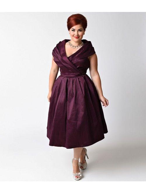 b6032576a01d Lindy Bop Plus Size Vintage Style Purple Stretch Amber Swing Dress ...