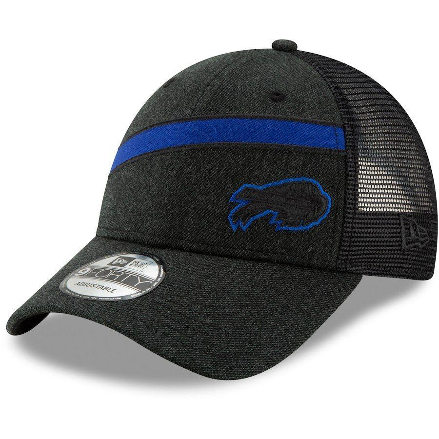 Men s Buffalo Bills New Era Heathered Black Black Label Scale Trucker  9FORTY Snapback Adjustable Hat 8790c918342c