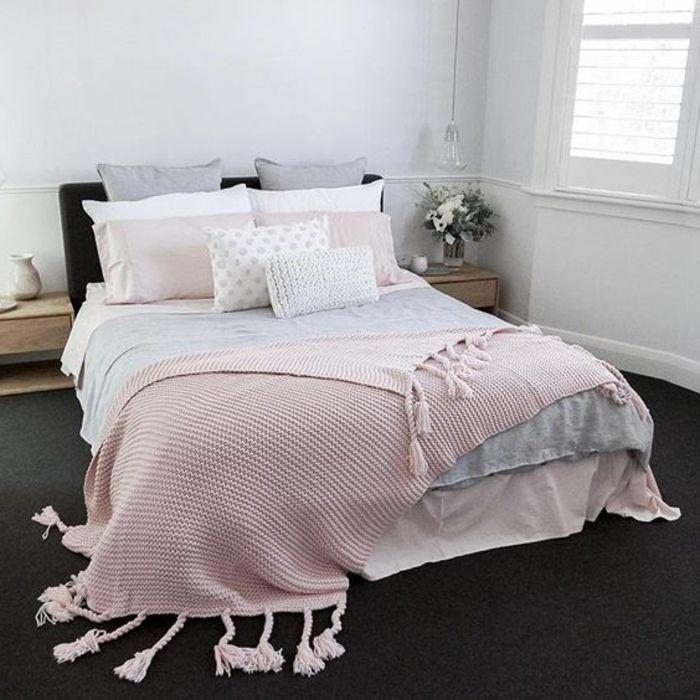 1001 conseils et id es pour une chambre en rose et gris sublime chambre coucher chambre - Chambre parentale grise ...