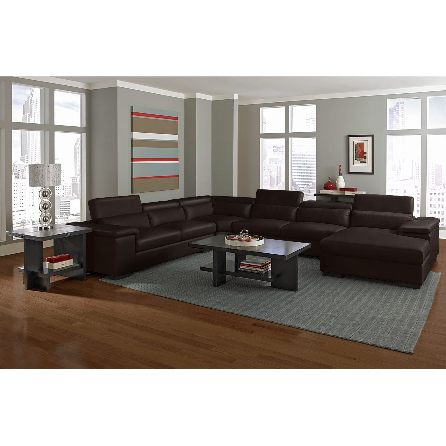 Comfortable Den Furniture American Signature Furniture Ventana Ii Leather 4 Pc