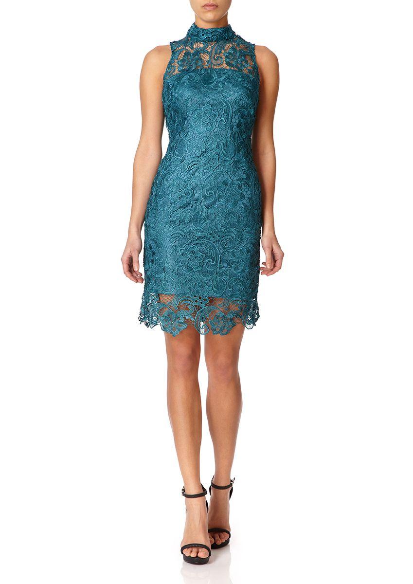 GILLIAN - Teal High Neck Lace Pencil Dress