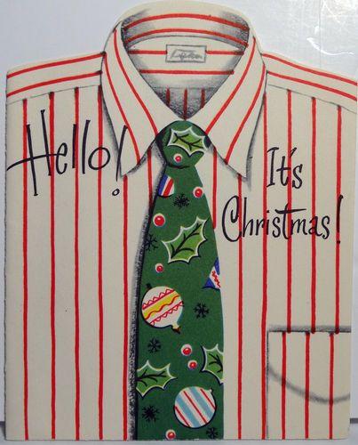 50s Men's Shirt Tie Vintage Die Cut Christmas Card