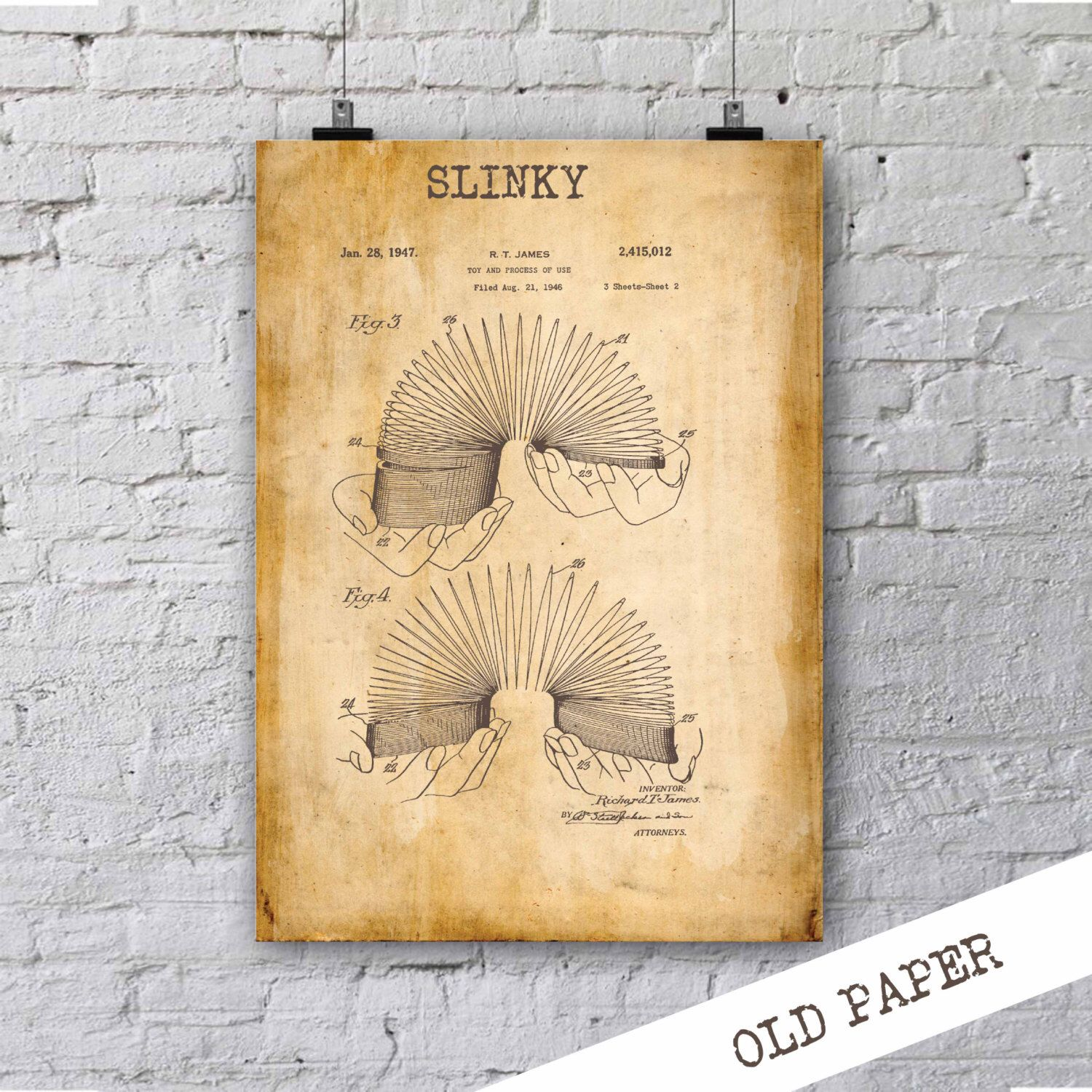 Slinky Patent Print| Retro Toy Poster| Patent Poster| Children Room ...