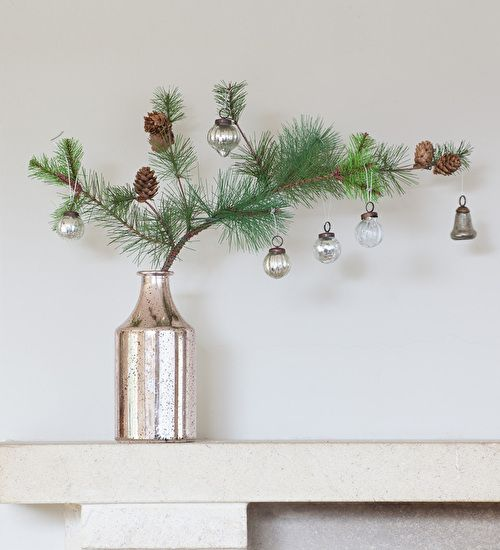 A Super Realistic Very Good Value Pine Needle Spray With Tiny Pine Cones Woven Onto The Bran Christmas Decorations Minimalist Christmas Scandinavian Christmas