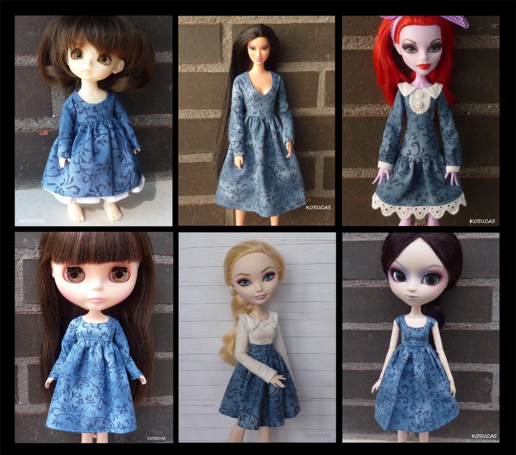 Ropa para distintas muñecas con la misma tela.