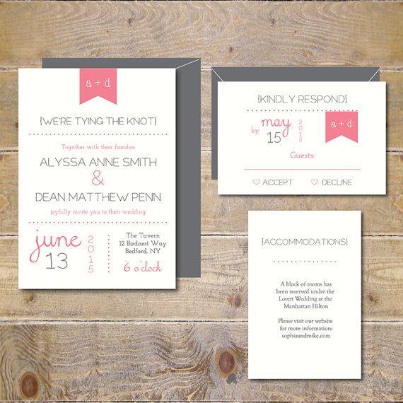 Inviti di nozze di Pennant. Matrimonio invita. Inviti di nozze moderno. Inviti di nozze Monogram - You & Me
