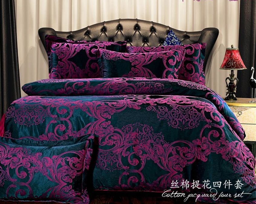 European bedding sets dark purple bedding Cover set Brand Bed Set bedspread  king. European bedding sets dark purple bedding Cover set Brand Bed Set