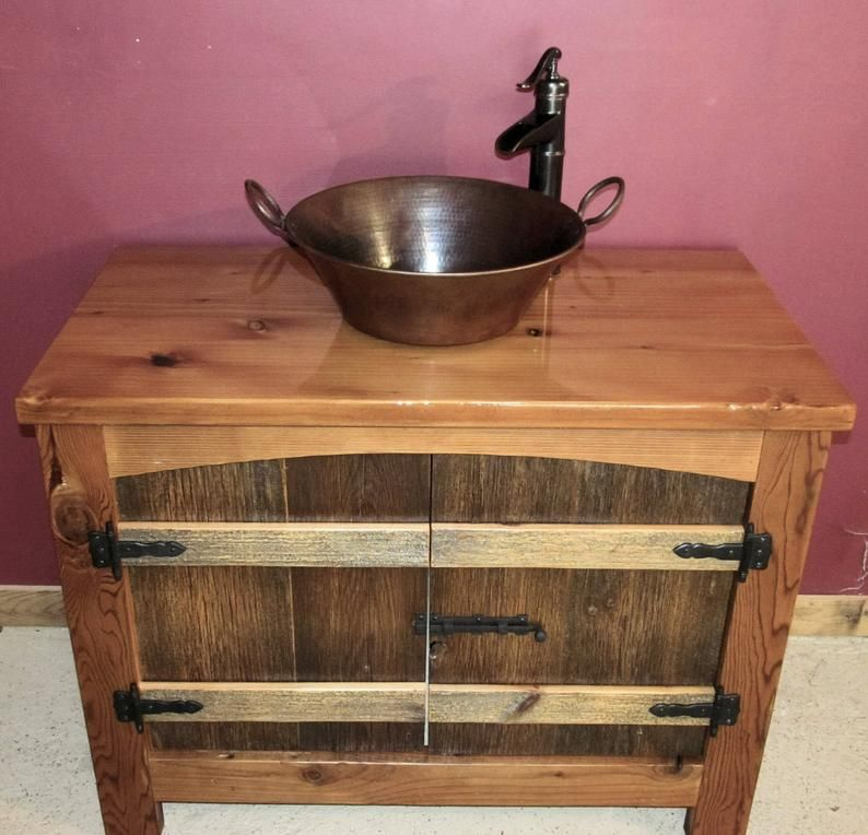 Arched Barnwood Vanity Package With Sink Faucet And Top Em 2020 Gabinete