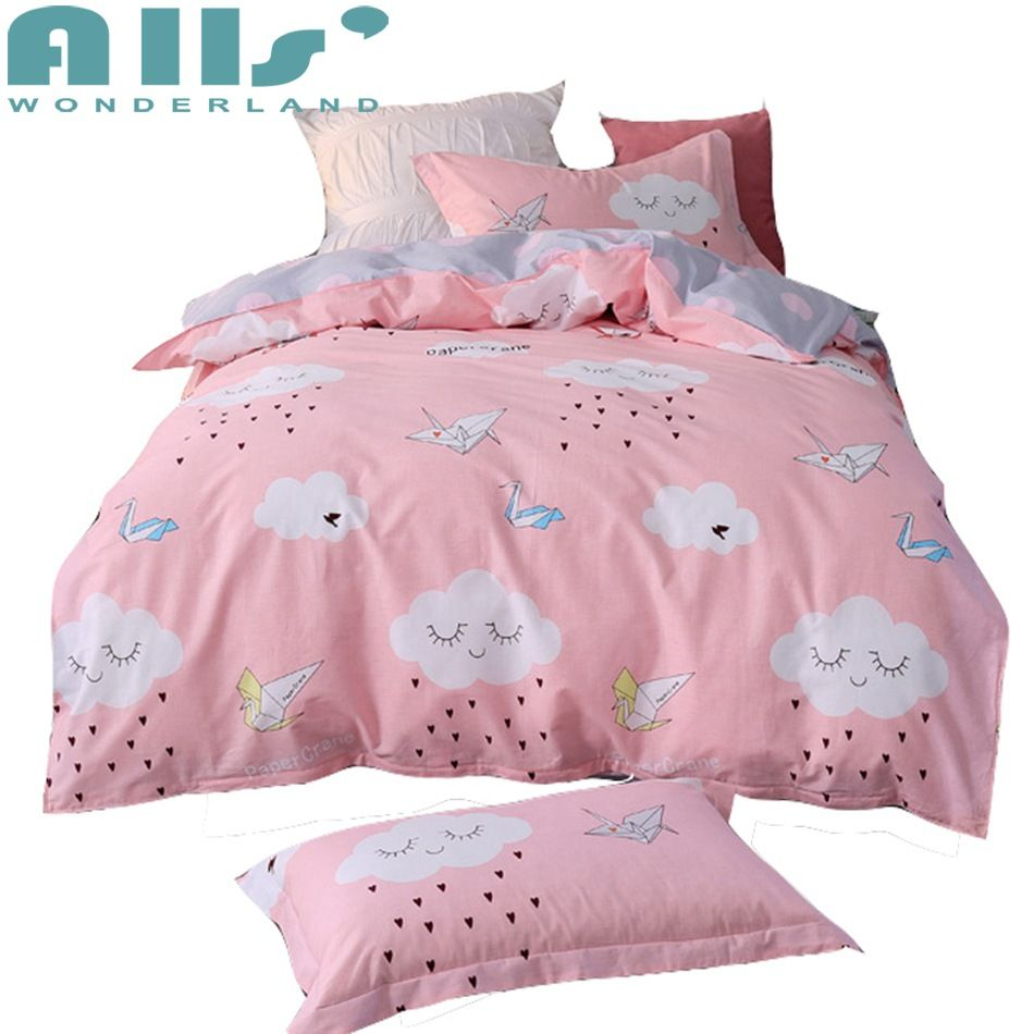 Pink 100 Cotton Cloud Duvet Cover Set Twin Size 3pcs Bedding Sets For Kids Cartoon Duvet Cover Bed Sheet Pillow Duvet Cover Sets Kids Duvet Cover Duvet Covers