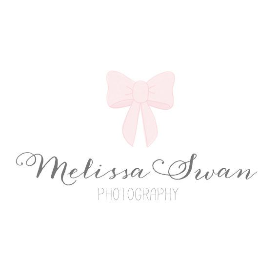 Pre-made Photography Watercolor Bow Logo Design / Premade Hand Drawn Bow Branding Logo