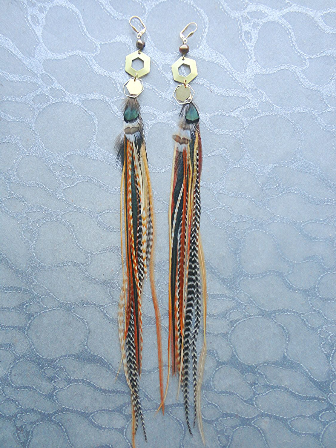 Brass Gold Hexagon Feather Earrings w Chains Charms