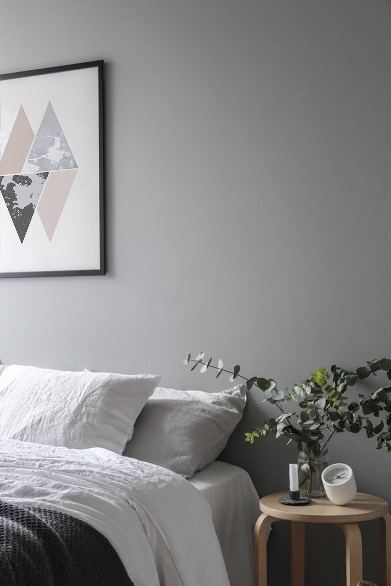Black And Pink Triangles Wall Art Print Biege Minimalism