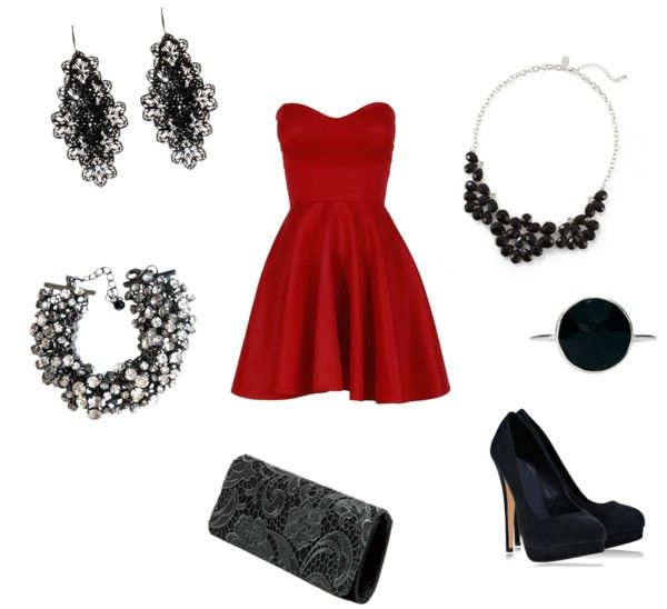 Perfect evening outfit - Personal style category- accessories black - shoes black - Red dress.