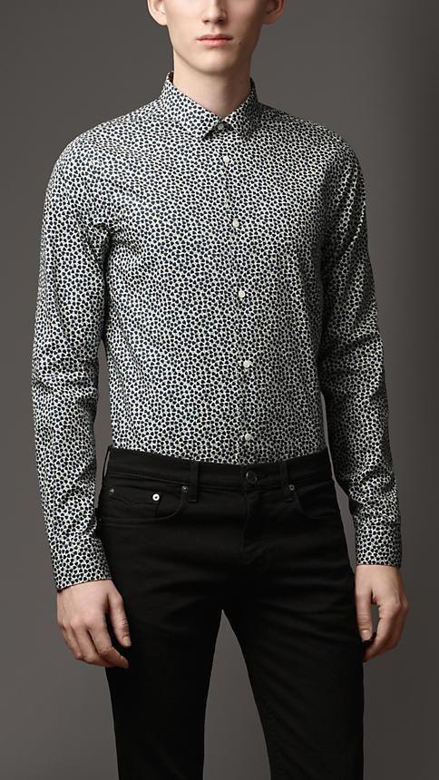 68bb7075620d Burberry London Slim Fit Leaf Print Cotton Silk Shirt