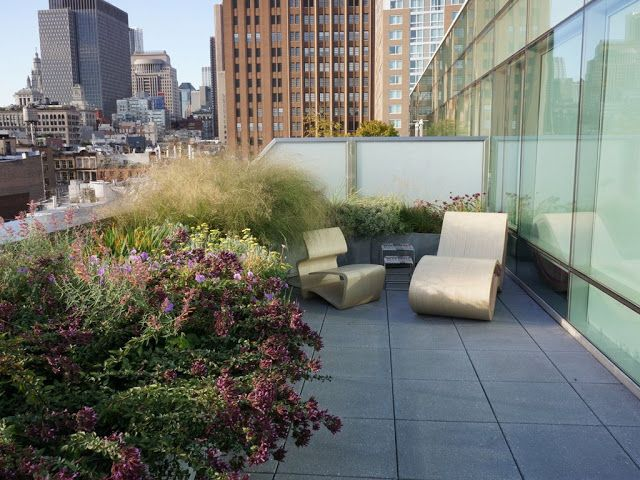 Roof terrace in West Broadway, New York, designed by Piet Oudolf
