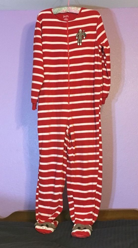 87610911ae2b Nick And Nora Red White Striped Sock Monkey Footed Pajamas Onesie XL ...