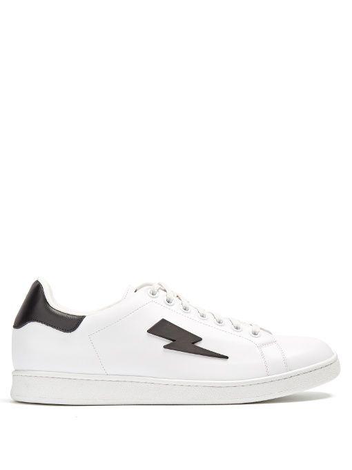 Neil Barrett White Thunderbolt Tennis Sneakers lYK54
