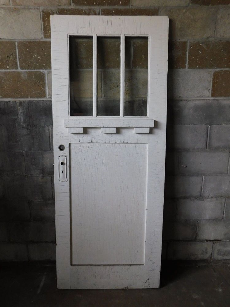 Antique Craftsman Style Entry Door With Beveled Glass 1910 Three