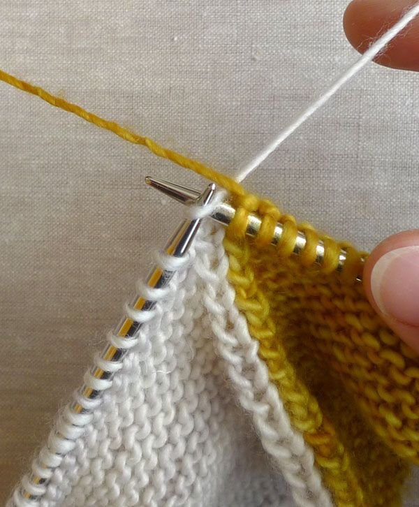 Knitting - Good pictorial for changing colors on right side and wrong - intarsia - Four Corners Baby Blanket