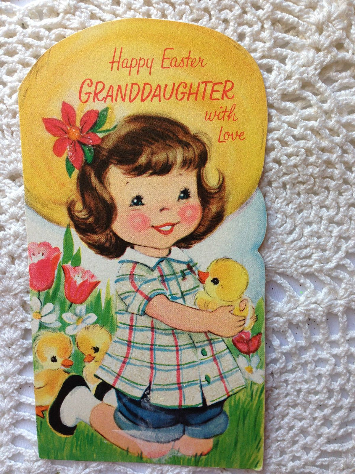 Vintage paramount easter die cut greeting card girl with ducks vintage paramount easter die cut greeting card girl with ducks glitter eb5103 ebay kristyandbryce Image collections
