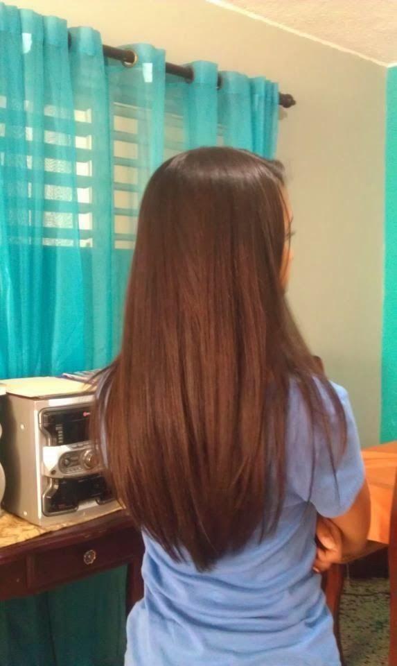 Long Hair Back View Straight Layered