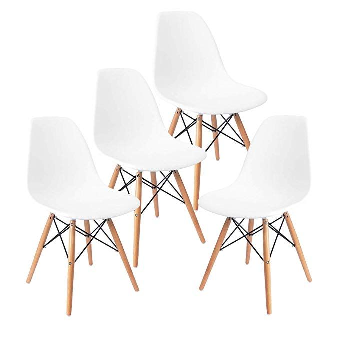 Sensational Mecor Dining Chairs Mid Century White Plastic Chairs Set Of Ibusinesslaw Wood Chair Design Ideas Ibusinesslaworg