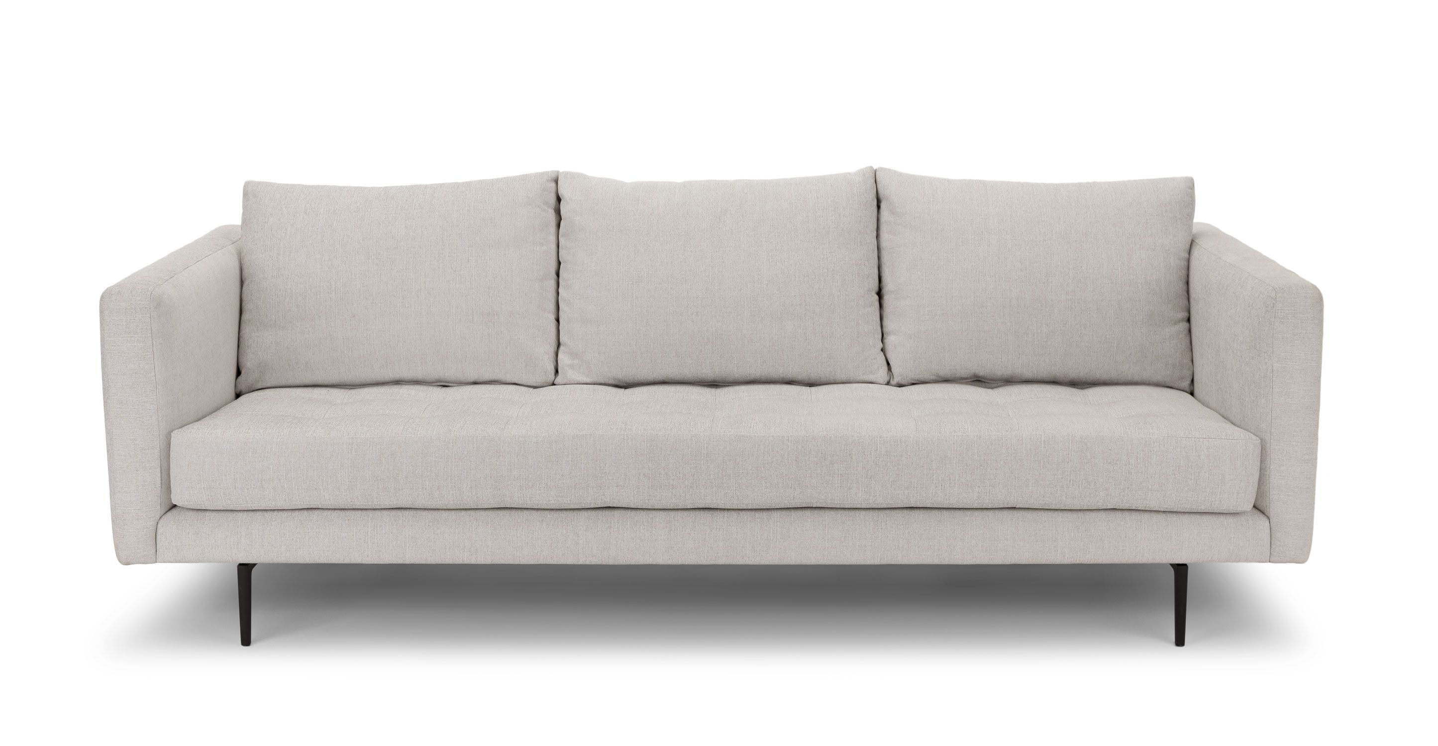 White Tufted Sofa 3 Seater Upholstered