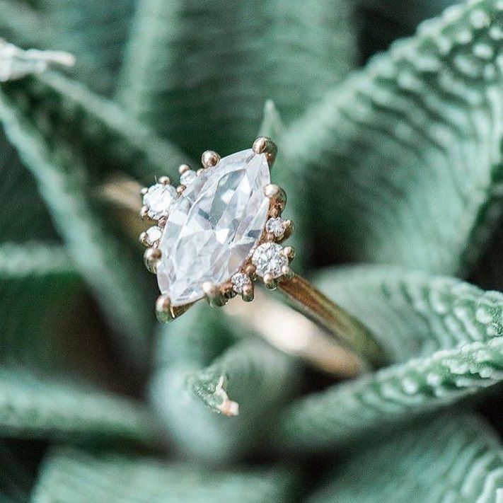 17 awe-inspiring marquise engagement rings to inspire | Vintage styled Marquise diamond engagement ring #engagementring #marquise #diamondring  #engaged