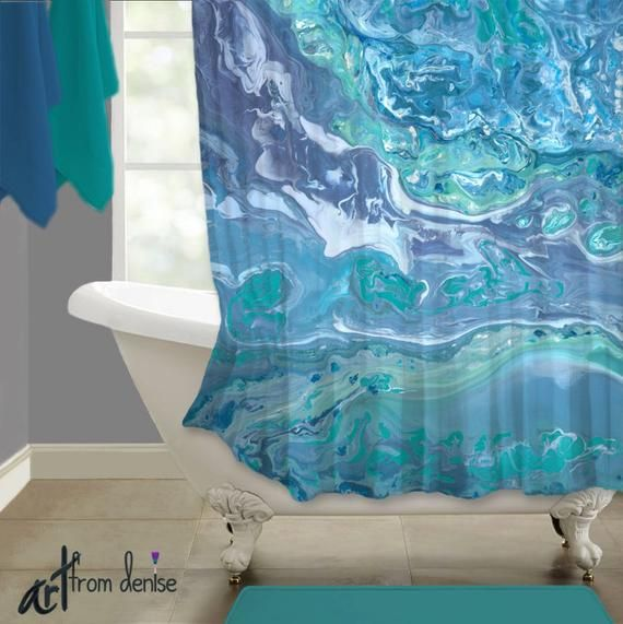 Gray and teal shower curtain (+ aqua & turquoise blue ...