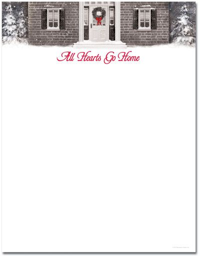 Wreath With Red Ribbon Letterhead  Christmas