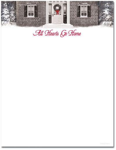 Wreath With Red Ribbon Letterhead Christmas Pinterest - christmas letterhead templates word