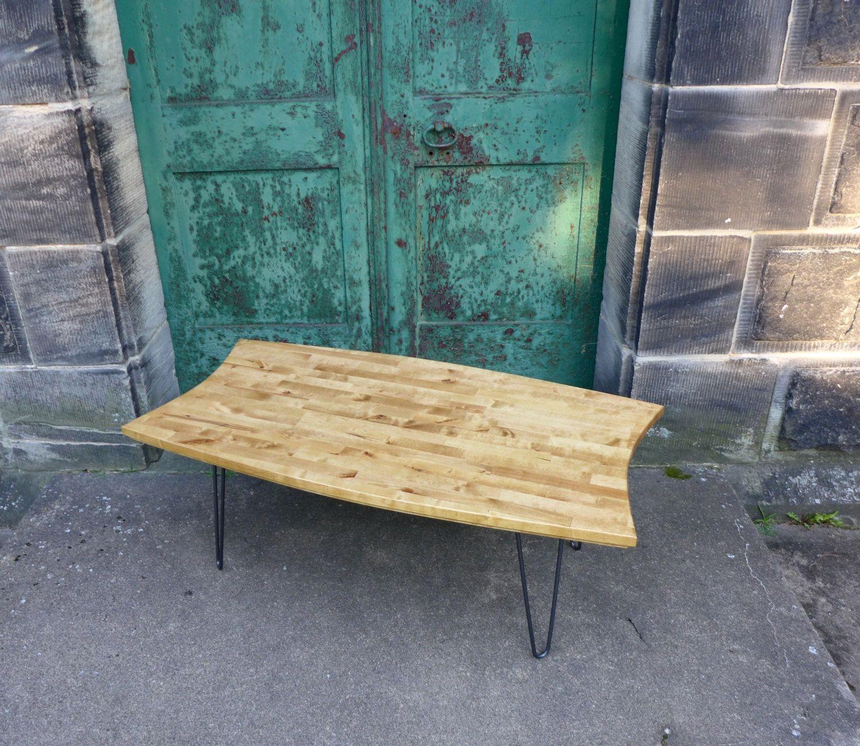 Mid Century Modern Inspired Coffee Table Handmade Hairpin Leg