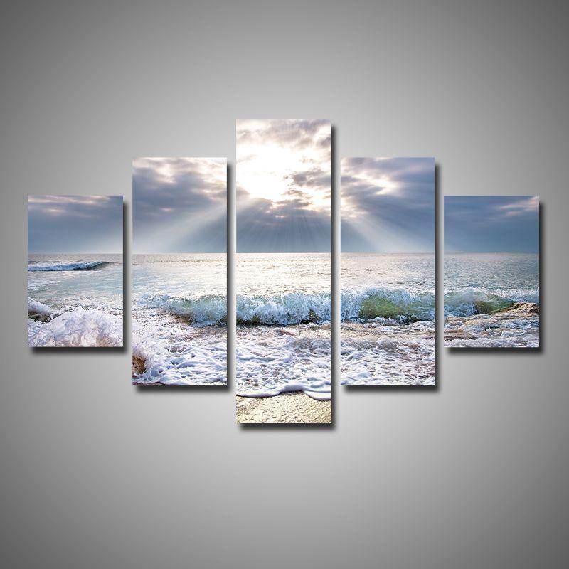5 Pieces Multi Panel Modern Home Decor Beach Wave Wall Canvas Art Sunshine Seascape Paintings Room Panel Wall Art Pictures Canvas Wall Art Wall Canvas Painting