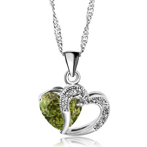 Pugster Women Necklace Heart Swarovski element Crystal Birthstone Pendant, best gifts