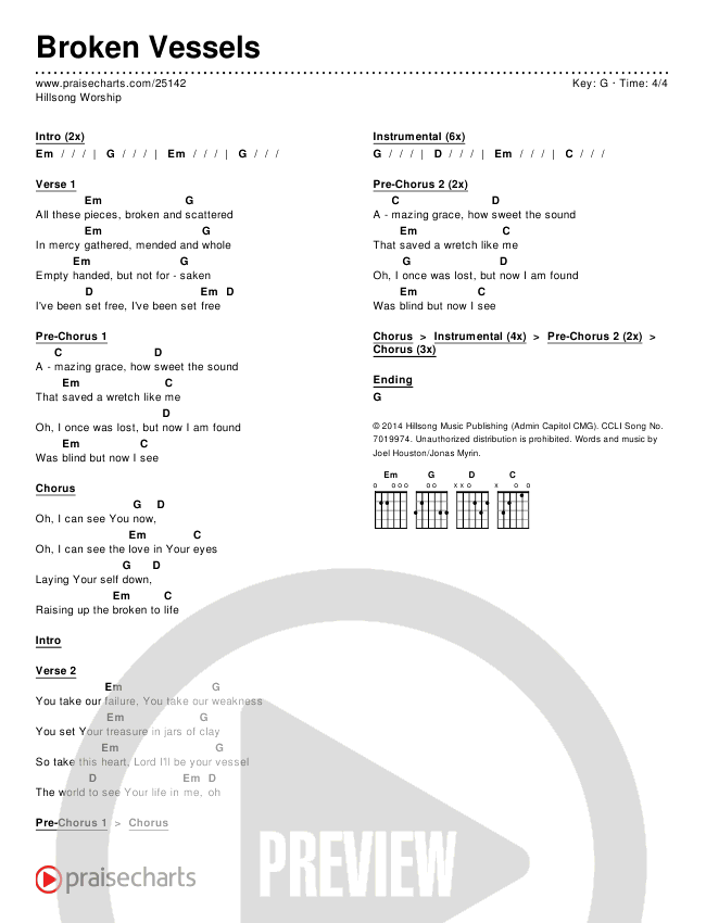 Hillsong Worship - Broken Vessels Chord Chart in G p.1 | GUITAR ...
