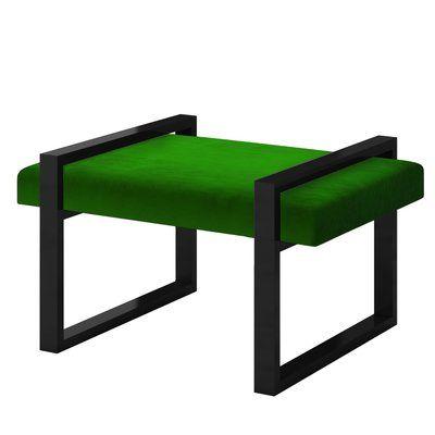 Everly Quinn Ahumada Velvet Contemporary steel Frame Vanity Stool Finish: Black, Color: Green