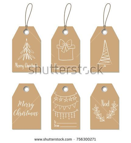 Christmas Gift Tags Vector Hand Drawn Craft Labels Christmas