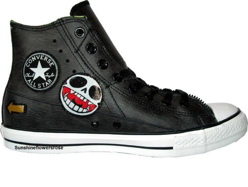 af1d1c7a7f0 Converse All Star Gorillaz Motorcycle Hi Chuck Taylor Black Leather  Sneakers 9