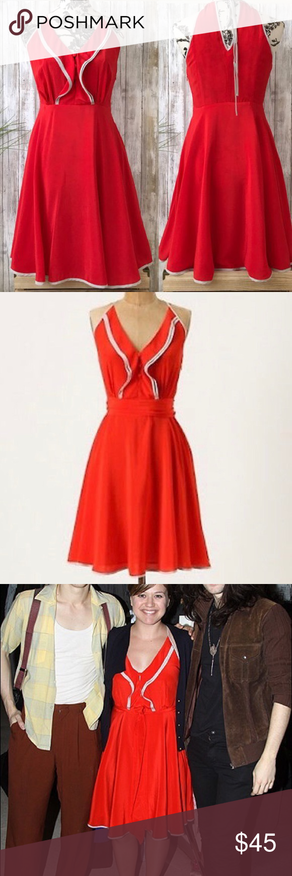 bd00346e3aa17 Anthropologie, Girls from Savoy Gull Wing dress Flowy, A-line, red, gull  wing dress from Anthropologie. Skirt goes to just below the knees.