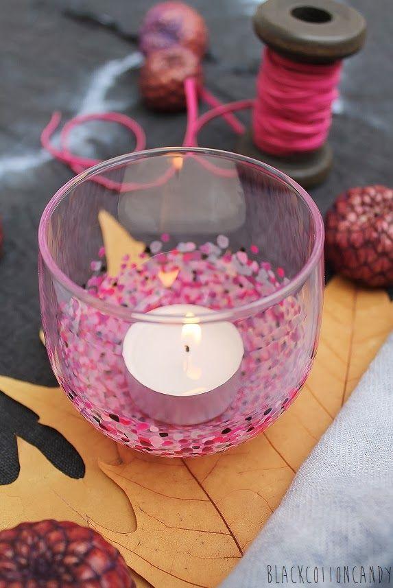 ein einfaches windlicht mit nagellack aufpeppen tolle idee basteln mit nagellack pinterest. Black Bedroom Furniture Sets. Home Design Ideas