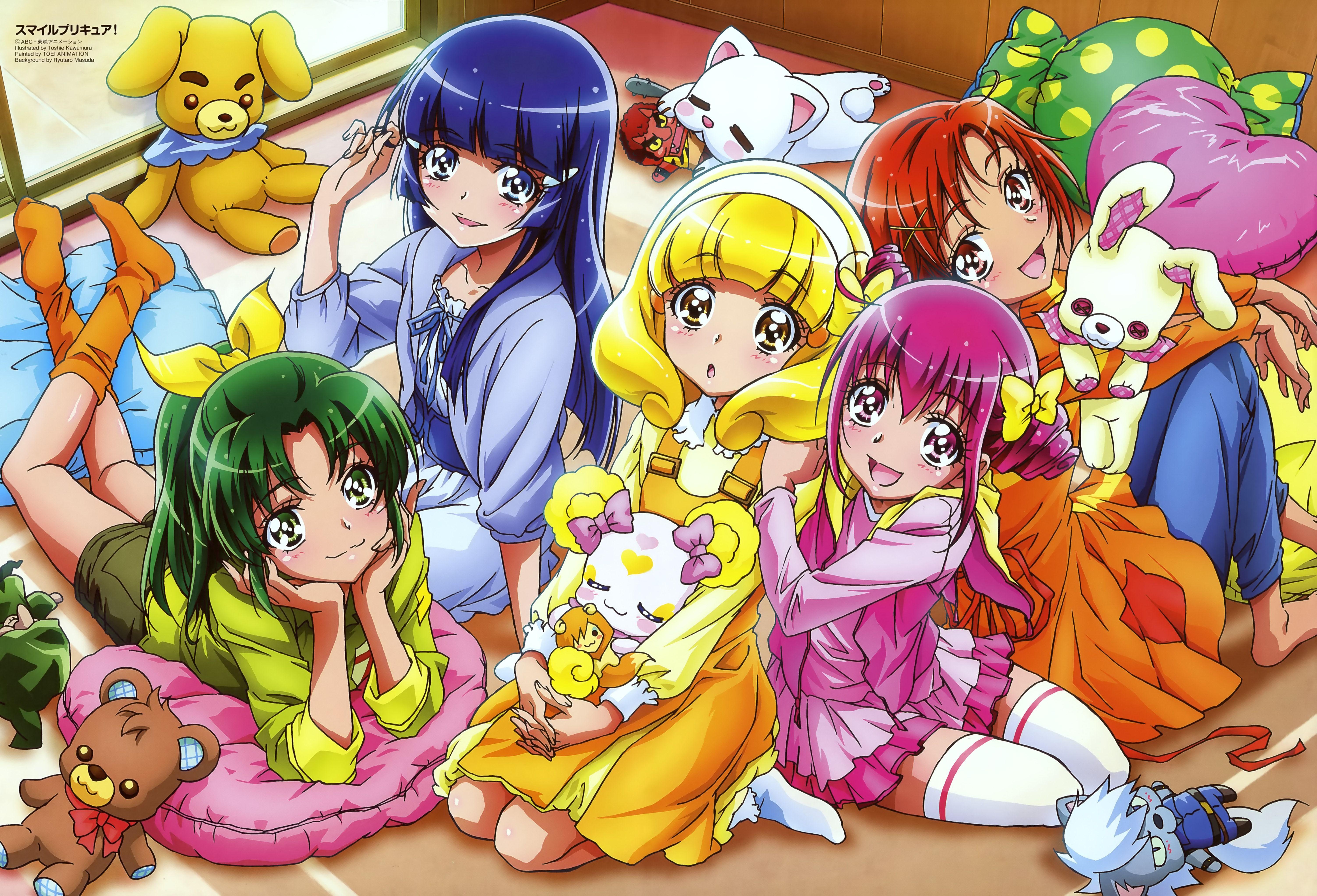 Happy/Miyuki, Sunny/Akane, Peace/Yayoi, March/Nao, Beauty