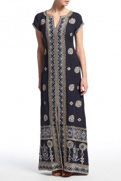 Hesperia Hand Embellished Linen Maxi Dress   | Calypso St. Barth